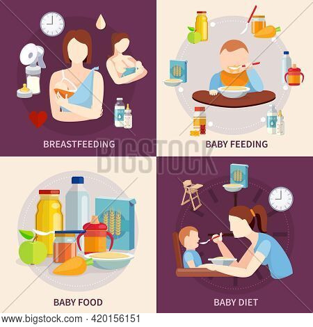Healthy Food Choice For Babies And Toddlers 4 Flat Icons Square Composition Banner Abstract Isolated