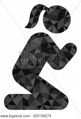 Triangle Praying Girl Polygonal Symbol Illustration. Praying Girl Lowpoly Icon Is Filled With Triang