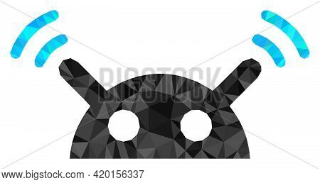 Triangle Robot Radio Signal Polygonal Icon Illustration. Robot Radio Signal Lowpoly Icon Is Filled W