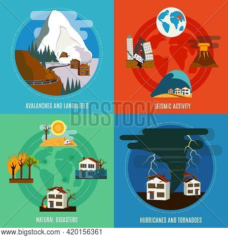 Natural Disaster 4 Flat Icons Square Banner With Seismic Activity Hurricanes And Tornadoes Abstract