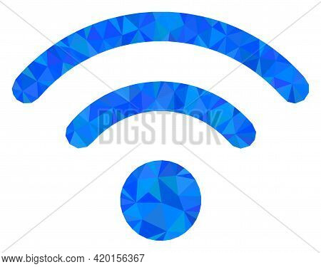 Triangle Wi-fi Source Polygonal Symbol Illustration. Wi-fi Source Lowpoly Icon Is Filled With Triang