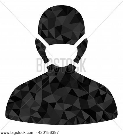 Triangle Coronavirus Face Mask Polygonal Icon Illustration. Coronavirus Face Mask Lowpoly Icon Is Fi