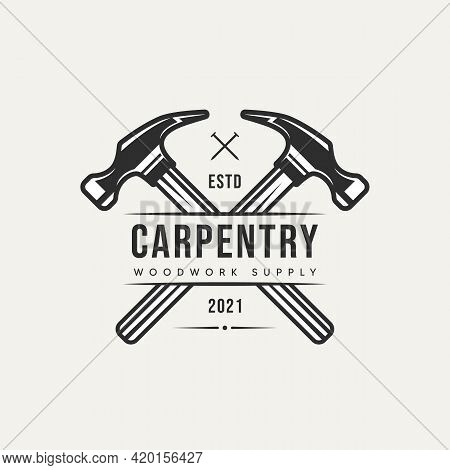 Cross Hammer Carpentry Vintage Logo Template Vector Illustration Design. Retro Classic Woodwork, Lum