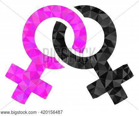 Triangle Lesbian Symbol Polygonal Icon Illustration. Lesbian Symbol Lowpoly Icon Is Filled With Tria