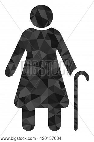 Triangle Grandmother Polygonal Symbol Illustration. Grandmother Lowpoly Icon Is Filled With Triangle