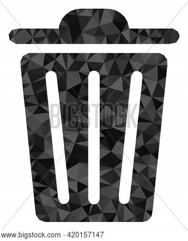 Triangle Trash Can Polygonal Icon Illustration. Trash Can Lowpoly Icon Is Filled With Triangles. Fla