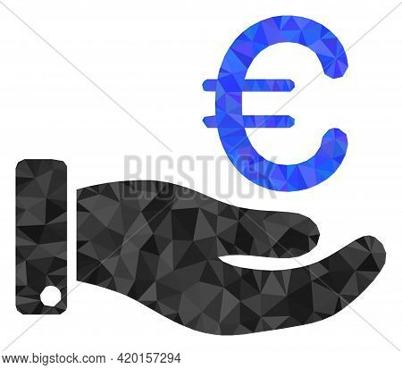 Triangle Hand Give Euro Polygonal Symbol Illustration. Hand Give Euro Lowpoly Icon Is Filled With Tr