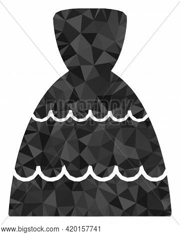 Triangle Bride Dress Polygonal Symbol Illustration. Bride Dress Lowpoly Icon Is Filled With Triangle