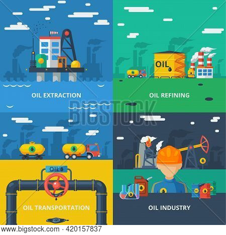 Oil Industry Design Concept Set With Extraction Refining And Transportation Isolated Vector Illustra