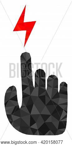 Triangle Electric Hand Polygonal Icon Illustration. Electric Hand Lowpoly Icon Is Filled With Triang