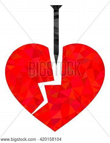 Triangle Crack Love Heart Polygonal Icon Illustration. Crack Love Heart Lowpoly Icon Is Filled With