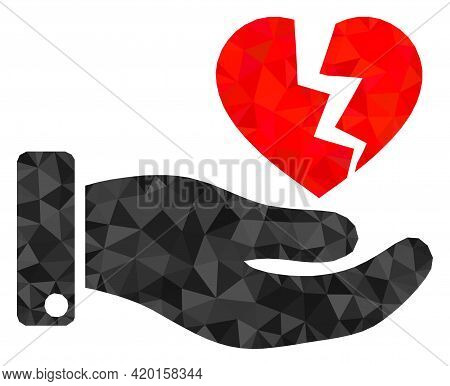 Triangle Hand Offer Broken Heart Polygonal Icon Illustration. Hand Offer Broken Heart Lowpoly Icon I
