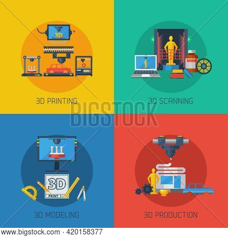 3d Manufacturing Process 4 Flat Icons Square Composition From Scanning Prototype To Objects Producti
