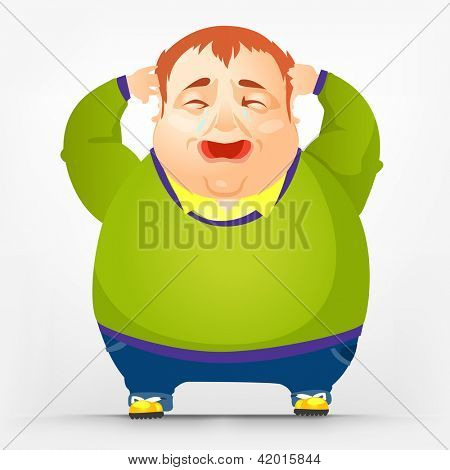 Cartoon Character Cheerful Chubby Men. Cry. Vector Illustration. EPS 10.