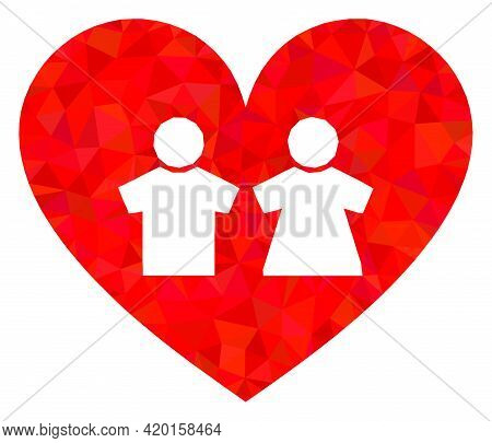 Triangle Romantic Heart Polygonal Icon Illustration. Romantic Heart Lowpoly Icon Is Filled With Tria