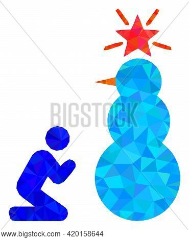 Triangle Pray To Holy Snowman Polygonal Symbol Illustration. Pray To Holy Snowman Lowpoly Icon Is Fi