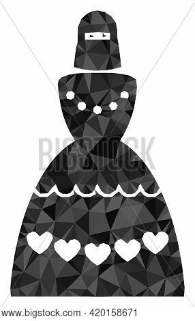 Triangle Muslim Bride Polygonal Symbol Illustration. Muslim Bride Lowpoly Icon Is Filled With Triang