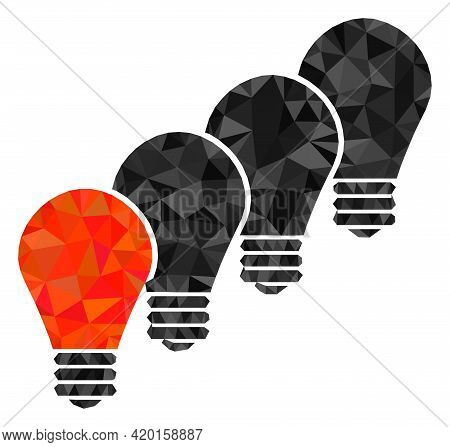 Triangle Lamp Bulbs Polygonal Symbol Illustration. Lamp Bulbs Lowpoly Icon Is Filled With Triangles.