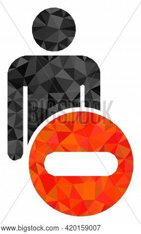 Triangle Remove Man Figure Polygonal Icon Illustration. Remove Man Figure Lowpoly Icon Is Filled Wit