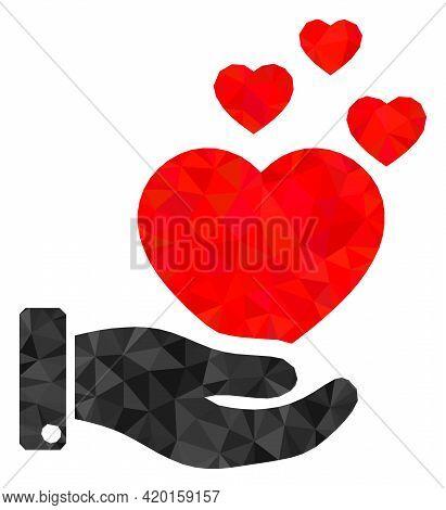 Triangle Hand Offer Love Hearts Polygonal Symbol Illustration. Hand Offer Love Hearts Lowpoly Icon I
