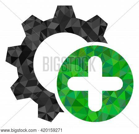Triangle Add Settings Gear Polygonal Icon Illustration. Add Settings Gear Lowpoly Icon Is Filled Wit
