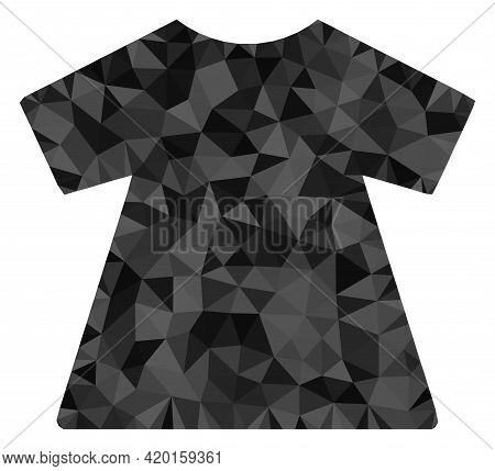 Triangle Lady Dress Polygonal Icon Illustration. Lady Dress Lowpoly Icon Is Filled With Triangles. F