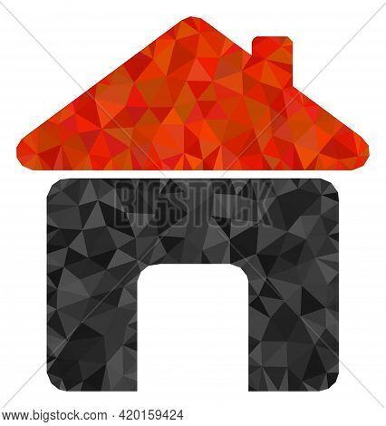Triangle House Polygonal Symbol Illustration. House Lowpoly Icon Is Filled With Triangles. Flat Fill