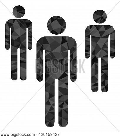 Triangle Men Figures Polygonal Icon Illustration. Men Figures Lowpoly Icon Is Filled With Triangles.