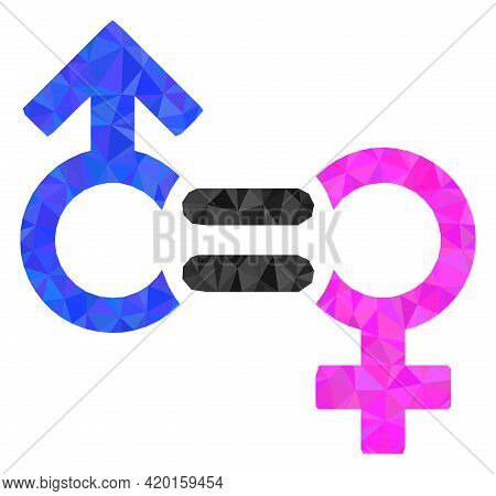 Triangle Genders Relation Symbol Polygonal Icon Illustration. Genders Relation Symbol Lowpoly Icon I