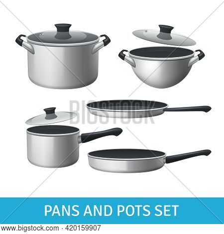 Pans And Pots Realistic Set With Frying Pan Saucepan And Bowl Isolated Vector Illustration
