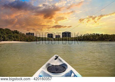 Sunset Over The Waterside View Of Clam Pass From A Kayak In Naples, Florida