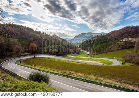 December. Central Italy. Winding mountain road