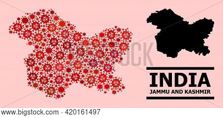 Vector Covid-2019 Mosaic Map Of Jammu And Kashmir State Designed For Hospital Advertisement. Red Mos