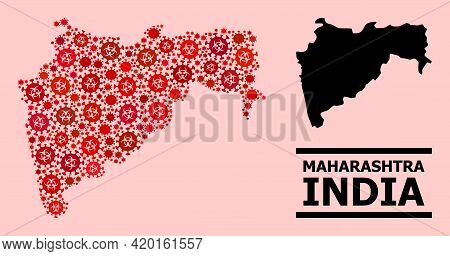 Vector Covid-2019 Mosaic Map Of Maharashtra State Organized For Health Care Projects. Red Mosaic Map