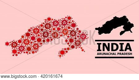 Vector Covid-2019 Mosaic Map Of Arunachal Pradesh State Combined For Doctor Posters. Red Mosaic Map
