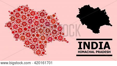 Vector Covid Mosaic Map Of Himachal Pradesh State Done For Hospital Purposes. Red Mosaic Map Of Hima