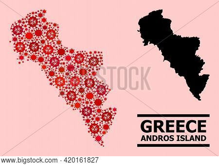 Vector Covid-2019 Collage Map Of Greece - Andros Island Designed For Medicare Advertisement. Red Mos