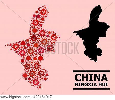 Vector Coronavirus Mosaic Map Of Ningxia Hui Region Designed For Pandemic Illustrations. Red Mosaic