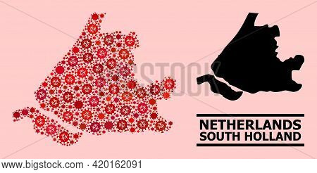 Vector Covid-2019 Mosaic Map Of South Holland Designed For Pandemic Posters. Red Mosaic Map Of South