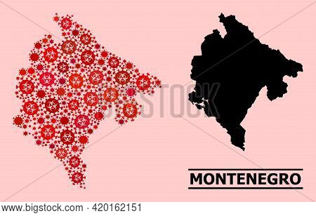 Vector Covid-2019 Mosaic Map Of Montenegro Created For Pharmacy Advertisement. Red Mosaic Map Of Mon