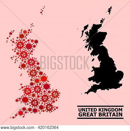 Vector Covid-2019 Mosaic Map Of Great Britain Organized For Hospital Projects. Red Mosaic Map Of Gre
