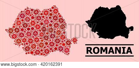 Vector Covid Mosaic Map Of Romania Done For Lockdown Applications. Red Mosaic Map Of Romania Is Done