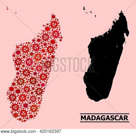 Vector Covid-2019 Mosaic Map Of Madagascar Island Created For Hospital Advertisement. Red Mosaic Map