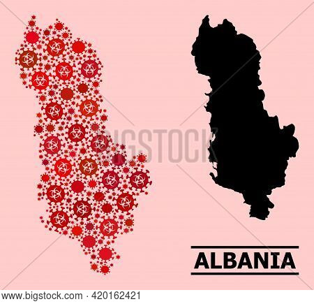 Vector Covid-2019 Mosaic Map Of Albania Designed For Health Care Wallpapers. Red Mosaic Map Of Alban