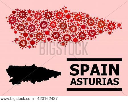 Vector Covid-2019 Mosaic Map Of Asturias Province Done For Health Care Wallpapers. Red Mosaic Map Of