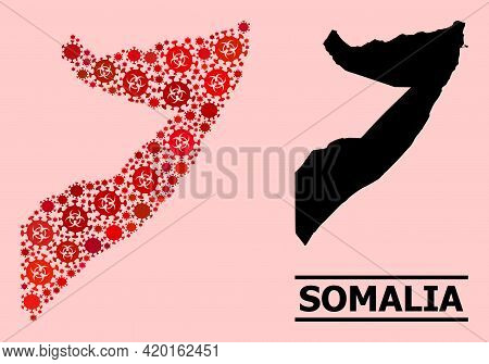 Vector Covid-2019 Mosaic Map Of Somalia Done For Pandemic Applications. Red Mosaic Map Of Somalia Is