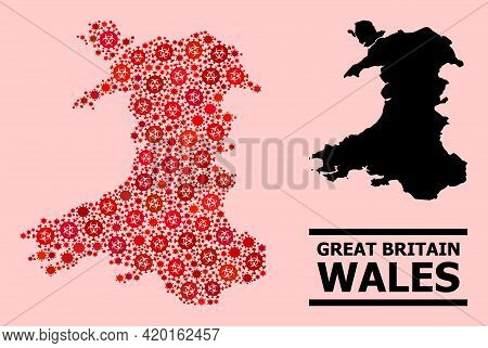 Vector Covid-2019 Mosaic Map Of Wales Organized For Doctor Projects. Red Mosaic Map Of Wales Is Desi