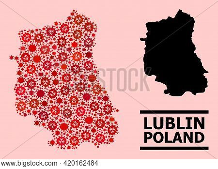Vector Covid Mosaic Map Of Lublin Province Constructed For Lockdown Posters. Red Mosaic Map Of Lubli