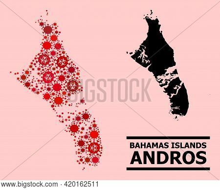 Vector Coronavirus Mosaic Map Of Bahamas - Andros Island Combined For Hospital Projects. Red Mosaic