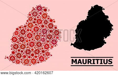Vector Covid Mosaic Map Of Mauritius Island Organized For Pandemic Wallpapers. Red Mosaic Map Of Mau